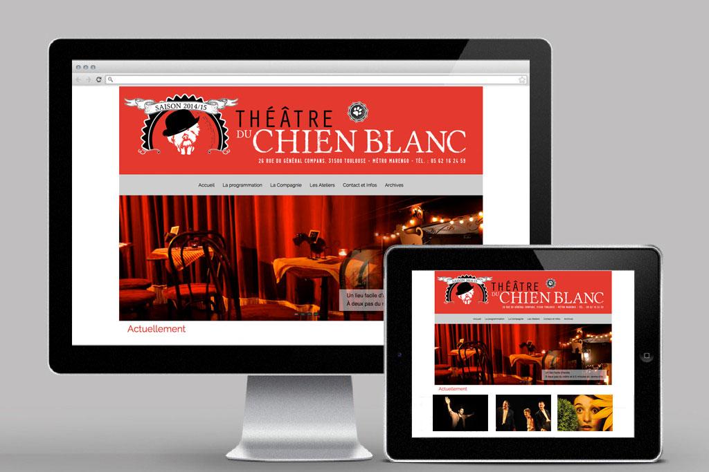 Création du site www.theatreduchienblanc.fr et administration par le client