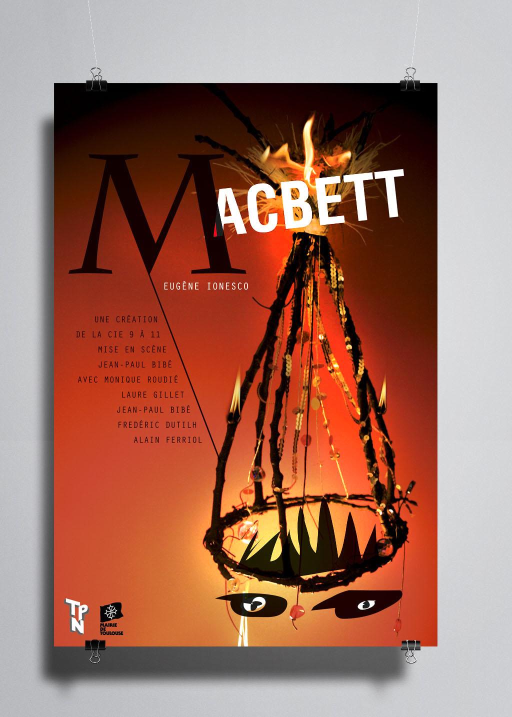 Affiche de théâtre. Compagnie 9 à 11. Macbett de Ionesco