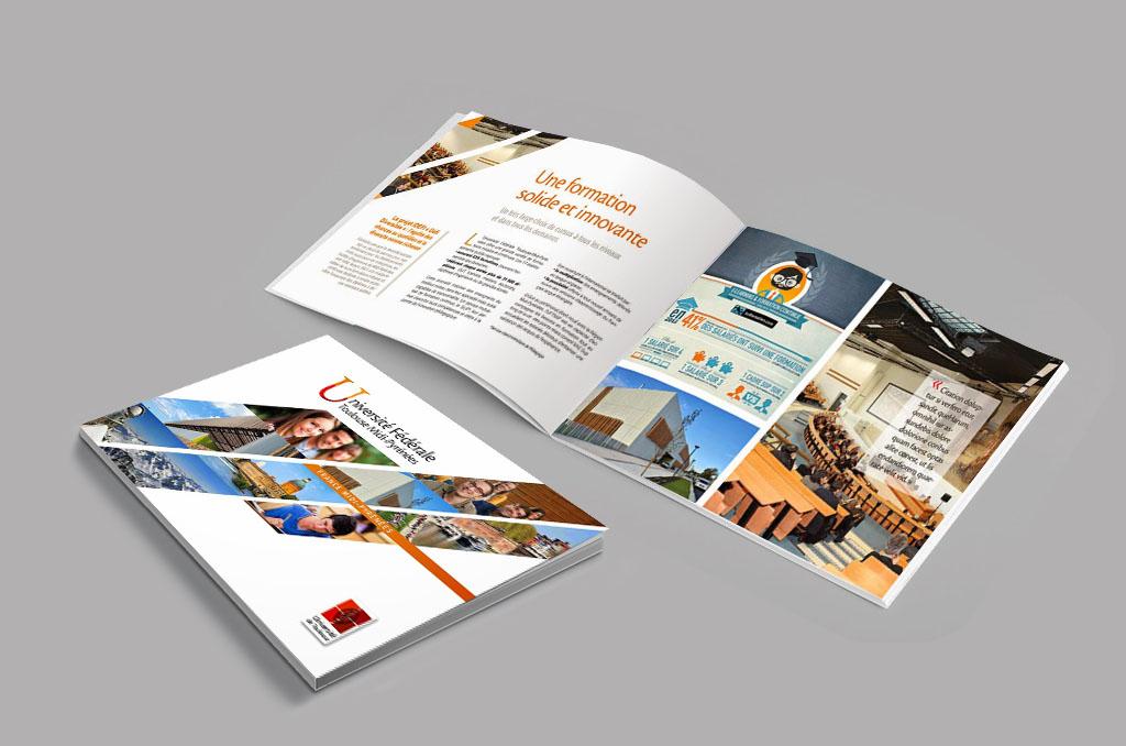 Double pages intérieures de la plaquette de présentation de l'Université de Toulouse