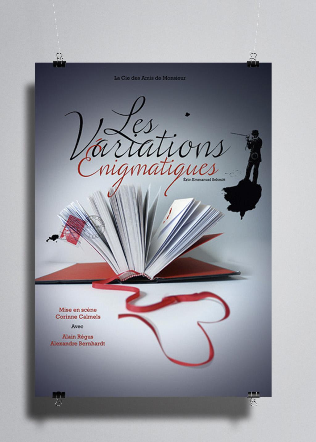 Affiche de théâtre. Les Variations énigmatiques. Photomontage et typographie