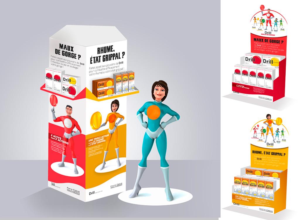 Pour Drill, déclinaison de l'univers de la marque : PLV, Stop rayon, Kakemono, vitrophanie