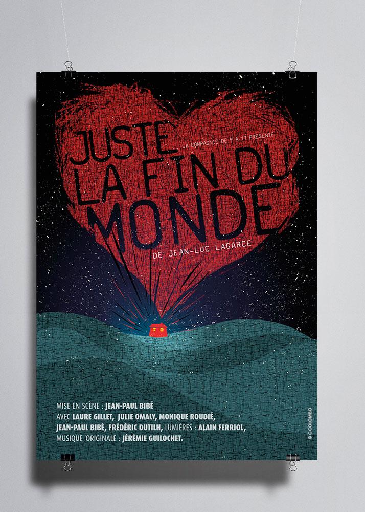 Affiche Juste la Fin du Monde de Jean-Luc Lagarce. Création graphique Céline Colombo