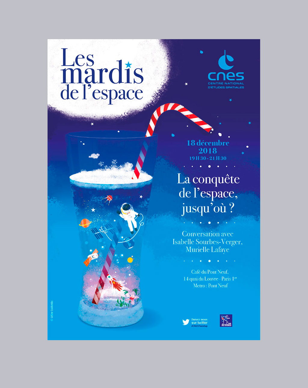 Affiche pour les Cafés-Débats-Rencontres du CNES