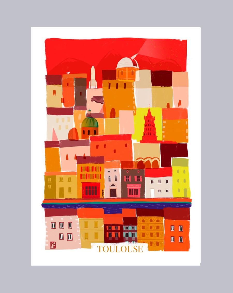 Affiche de Toulouse 50x70. © Céline Colombo