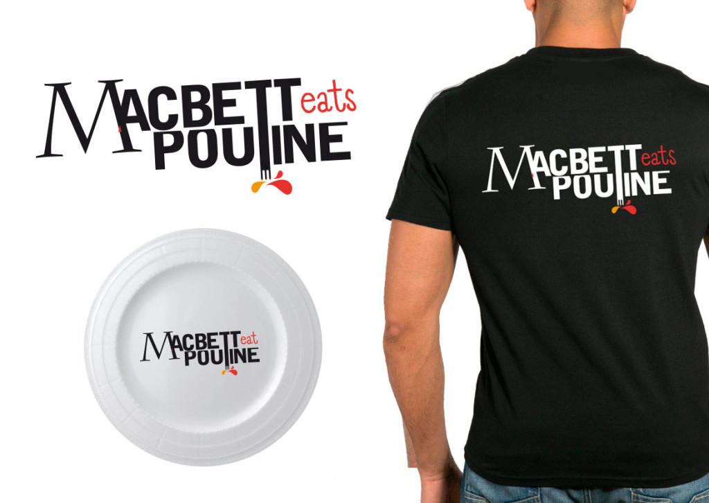 """Goodies pour la Cie 9 à 11. Typo détournée de l'affiche MACBETT sélectionnée pour un festival au Canada. Jeu de mot (""""Poutine"""" étant une recette canadienne très populaire)."""